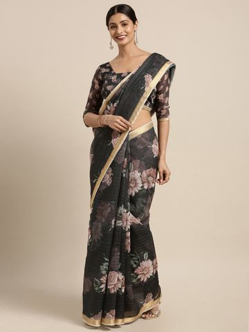 SATIMA | Satima Brown Silk Foil Work & Embroidery Saree