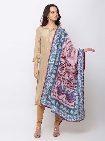 Ethnicity | Ethnicity Cotton Blend Straight Women Dust Pink Dupatta