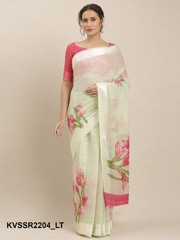 SATIMA | YellowLinen CottonFloral Print, Satin Border
