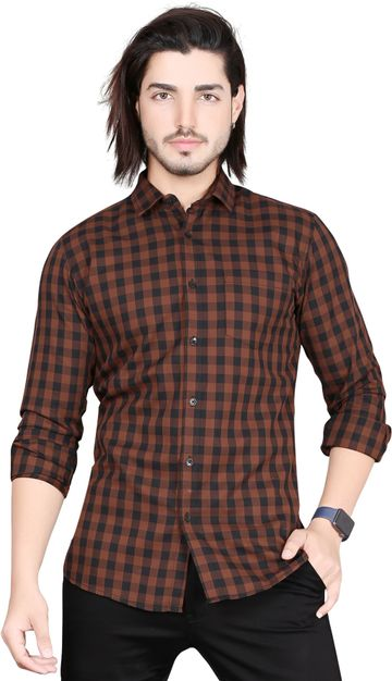 5th Anfold   5TH ANFOLD Casual Tomtom Checkered Pure Cotton Full Sleev Spread Collar Shirt