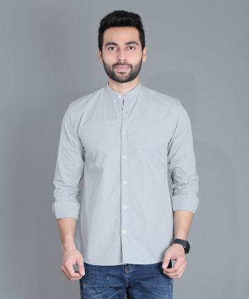 5th Anfold | FIFTH ANFOLD Casual Mandrin Collar full Sleev/Long Sleev Cement Pure Cotton Plain Solid Men Shirt(Size:3XL)