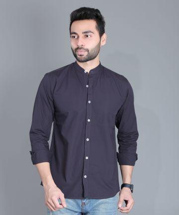 5th Anfold | FIFTH ANFOLD Casual Mandrin Collar full Sleev/Long Sleev Dark Grey Pure Cotton Plain Solid Men Shirt(Size:3XL)