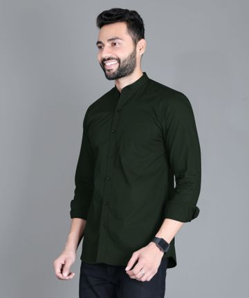 5th Anfold | FIFTH ANFOLD Casual Mandrin Collar full Sleev/Long Sleev Bottle Green Pure Cotton Plain Solid Men Shirt