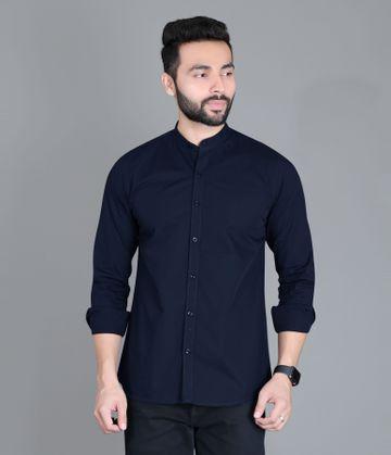 5th Anfold | FIFTH ANFOLD Casual Mandrin Collar full Sleev/Long Sleev Light Navy Pure Cotton Plain Solid Men Shirt