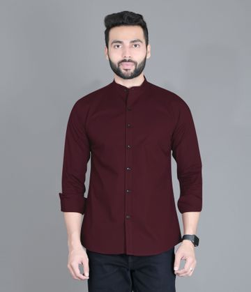 5th Anfold | FIFTH ANFOLD Casual Mandrin Collar full Sleev/Long Sleev Maroon Pure Cotton Plain Solid Men Shirt(Size:3XL)
