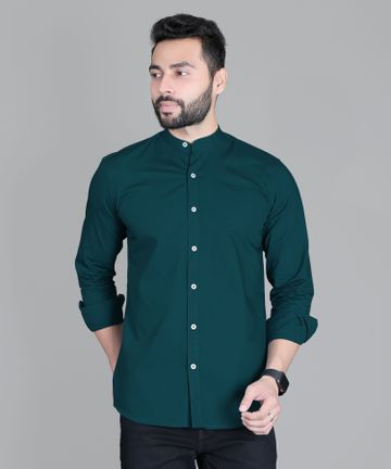 5th Anfold | FIFTH ANFOLD Casual Mandrin Collar full Sleev/Long Sleev Peacock Pure Cotton Plain Solid Men Shirt