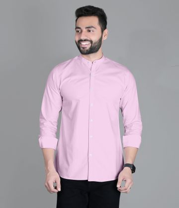 5th Anfold   FIFTH ANFOLD Casual Mandrin Collar full Sleev/Long Sleev Pink Pure Cotton Plain Solid Men Shirt(Size:3XL)