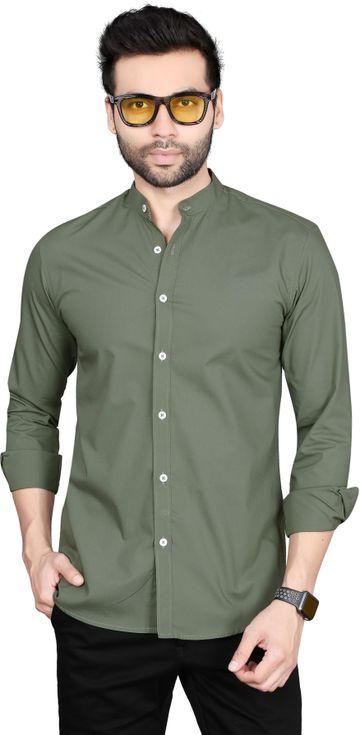 5th Anfold | 5TH ANFOLD Solid Pure Cotton Casual Full Long Sleev Rusty Green Mandarin Collar Mens Shirt