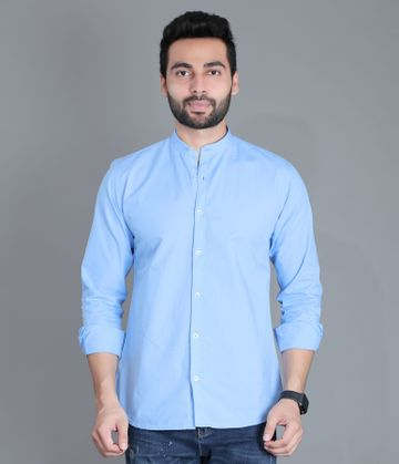 5th Anfold | FIFTH ANFOLD Casual Mandrin Collar full Sleev/Long Sleev Sky Blue Pure Cotton Plain Solid Men Shirt