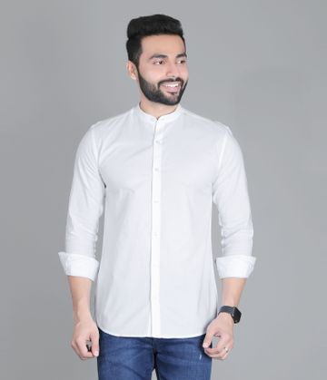 5th Anfold | FIFTH ANFOLD Casual Mandrin Collar full Sleev/Long Sleev White Pure Cotton Plain Solid Men Shirt(Size:3XL)