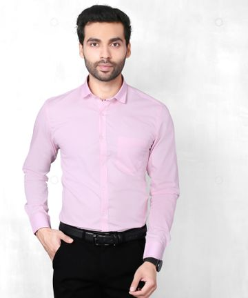 5th Anfold   Fifth Anfold Solid Pure Cotton Formal Full Long Sleev Pink Spread Collar Mens Shirt(Size:XXL)