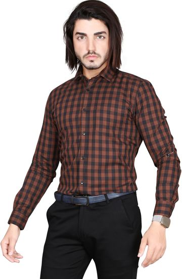 5th Anfold   5TH ANFOLD Formal Tomtom Checkered Pure Cotton Full Sleev Spread Collar Shirt