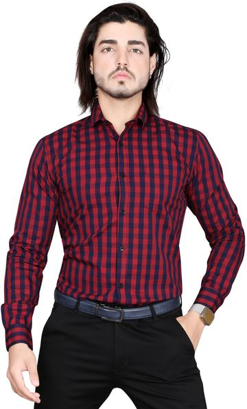 5th Anfold | 5TH ANFOLD Formal Tomtom Checkered Pure Cotton Full Sleev Spread Collar Shirt