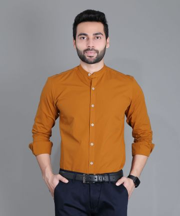 5th Anfold   FIFTH ANFOLD Formal Mandrin Collar full Sleev/Long Sleev Copper Brown Pure Cotton Plain Solid Men Shirt(Size:3XL)