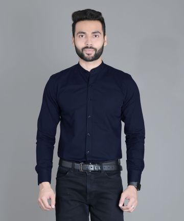 5th Anfold | FIFTH ANFOLD Formal Mandrin Collar full Sleev/Long Sleev Light Navy Pure Cotton Plain Solid Men Shirt