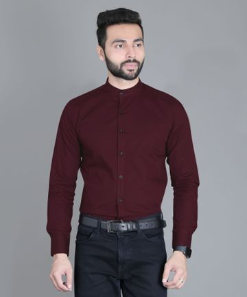 5th Anfold | FIFTH ANFOLD Formal Mandrin Collar full Sleev/Long Sleev Maroon Red Pure Cotton Plain Solid Men Shirt(Size:3XL)