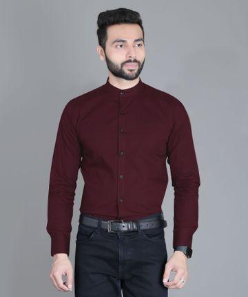 5th Anfold | FIFTH ANFOLD Formal Mandrin Collar full Sleev/Long Sleev Maroon Red Pure Cotton Plain Solid Men Shirt