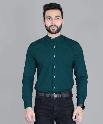 5th Anfold | FIFTH ANFOLD Formal Mandrin Collar full Sleev/Long Sleev Peakok Pure Cotton Plain Solid Men Shirt(Size:3XL)