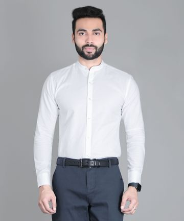 5th Anfold | FIFTH ANFOLD Formal Mandrin Collar full Sleev/Long Sleev White Pure Cotton Plain Solid Men Shirt(Size:3XL)
