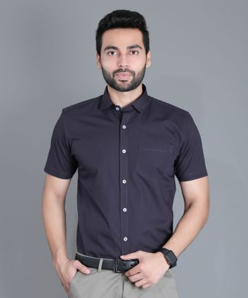 5th Anfold | Fifth Anfold Formal Half Sleev/Short Sleev Dark Grey Pure Cotton Plain Solid Partywear Men Shirt(Size: 3XL)