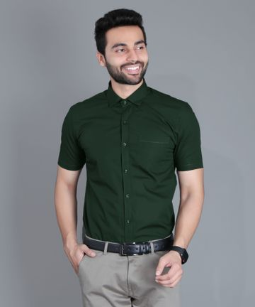 5th Anfold | Fifth Anfold Formal Half Sleev/Short Sleev Green Pure Cotton Plain Solid Partywear Men Shirt(Size: 3XL)