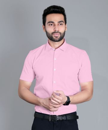5th Anfold | Fifth Anfold Formal Half Sleev/Short Sleev Pink Pure Cotton Plain Solid Partywear Men Shirt(Size: 3XL)