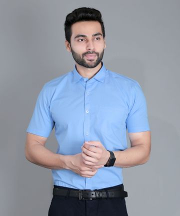 5th Anfold | Fifth Anfold Formal Half Sleev/Short Sleev Sky Blue Pure Cotton Plain Solid Partywear Men Shirt(Size: 3XL)