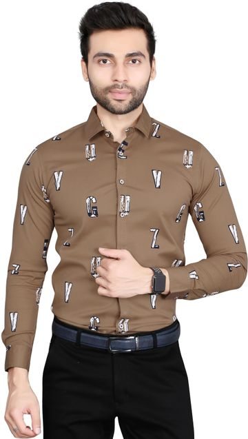 5th Anfold | Alphabatical Printed Formal Full Sleev Pure Cotton Shirt By 5th Anfold