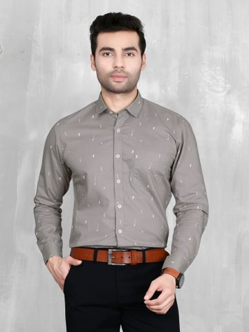 5th Anfold | 5th Anfold Mens Grey Formal Printed Cotton Shirt