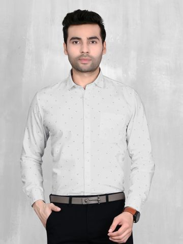5th Anfold   5th Anfold Mens White Formal Printed Cotton Shirt