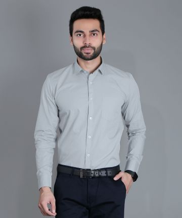 5th Anfold | FIFTH ANFOLD Solid Pure Cotton Formal Full Long Sleev Cement Green Spread Collar Mens Shirt