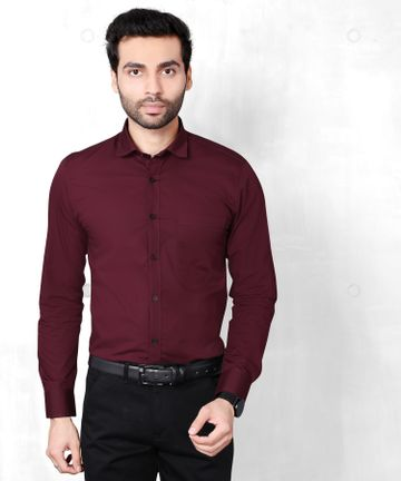 5th Anfold | FIFTH ANFOLD Solid Pure Cotton Formal Full Long Sleev Maroon Spread Collar Mens Shirt(Size:3XL)
