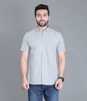 5th Anfold | Fifth Anfold Casual Half Sleev/Short Sleev Cement Green Pure Cotton Plain Solid Partywear Men Shirt