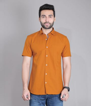 5th Anfold   Fifth Anfold Casual Half Sleev/Short Sleev Copper Brown Pure Cotton Plain Solid Partywear Men Shirt(Size: 3XL)