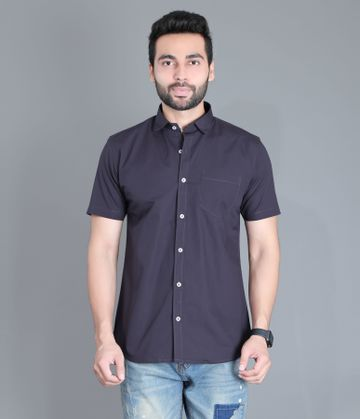 5th Anfold | Fifth Anfold Casual Half Sleev/Short Sleev Dark Green Pure Cotton Plain Solid Partywear Men Shirt