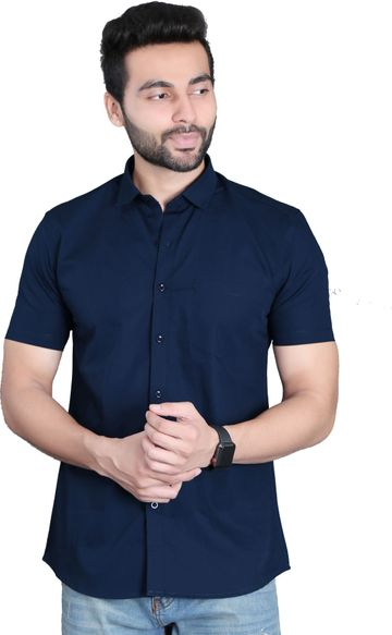 5th Anfold | Fifth Anfold Casual Half Sleev/Short Sleev Lite Navy Blue Pure Cotton Plain Solid Partywear Men Shirt