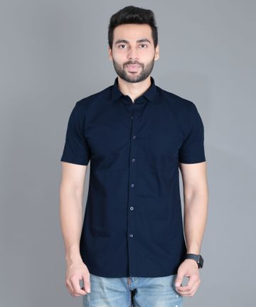 5th Anfold | Fifth Anfold Casual Half Sleev/Short Sleev Navy Blue Pure Cotton Plain Solid Casual Men Shirt(Size: 3XL)