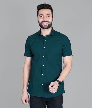 5th Anfold | Fifth Anfold Casual Half Sleev/Short Sleev Peakok Green Pure Cotton Plain Solid Partywear Men Shirt