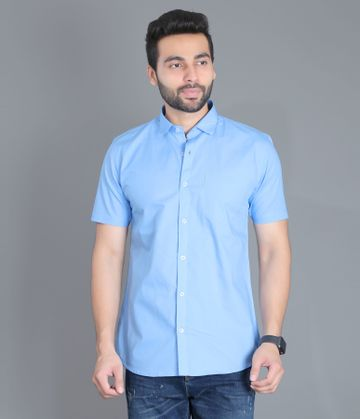 5th Anfold | Fifth Anfold Casual Half Sleev/Short Sleev Sky Blue Pure Cotton Plain Solid Partywear Men Shirt(Size: 3XL)