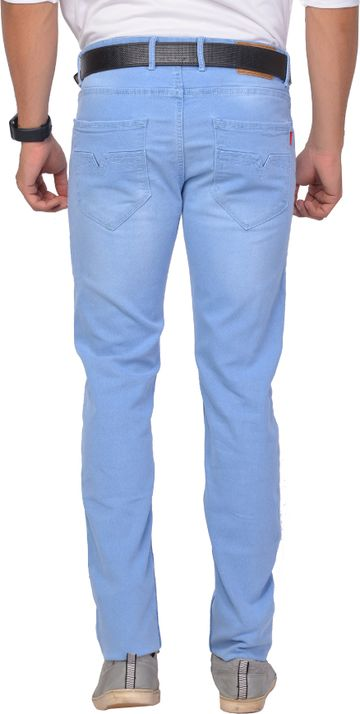 5th Anfold | FIFTH ANFOLD Mens Light Blue Clean Slim Narrow fit Mid Rise Jeans