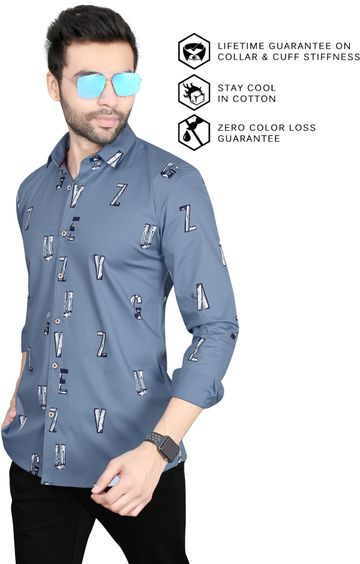 5th Anfold | Alphabatical Printed Casual Full Sleev Pure Cotton Shirt By 5th Anfold