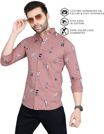 5th Anfold   Alphabatical Printed Casual Full Sleev Pure Cotton Shirt By 5th Anfold