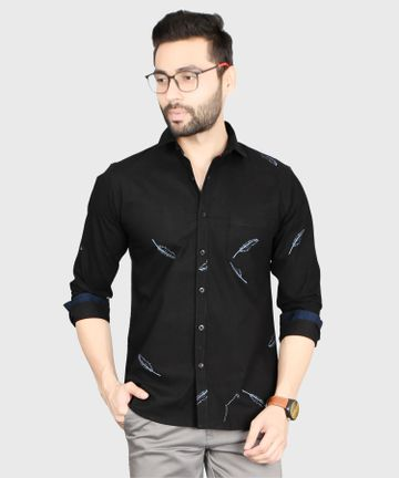 5th Anfold | Leaf Printed Casual Pure Cotton Full Sleev Shirt By 5th Anfold