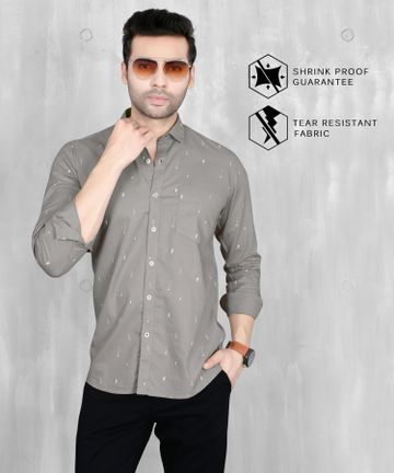 5th Anfold | 5th Anfold Mens Grey Casual Printed Cotton Shirt