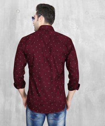 5th Anfold | 5th Anfold Mens Maroon Casual Printed Cotton Shirt