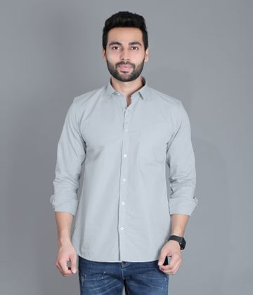 5th Anfold | FIFTH ANFOLD Men's Cement Green Casual Slim Collar Full/Long Sleev Slim Fit Shirt(Size:3XL)