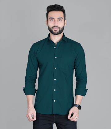 5th Anfold | FIFTH ANFOLD Solid Pure Cotton Formal Full Long Sleev Peakok Pure Collar Mens Shirt