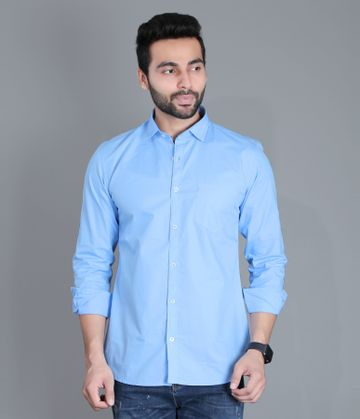 5th Anfold | FIFTH ANFOLD Men's Sky Blue Casual Slim Collar Full/Long Sleev Slim Fit Shirt