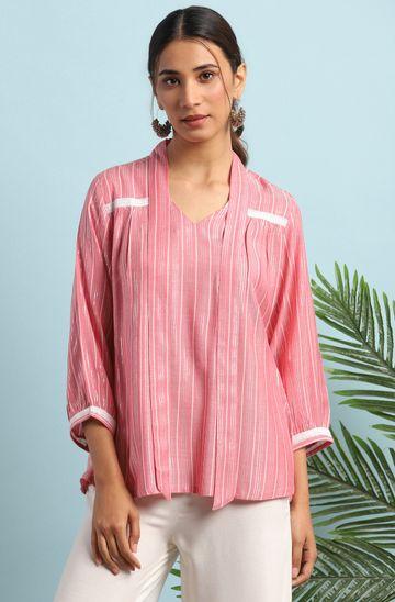 Janasya | Janasya Women's Pink Rayon Top
