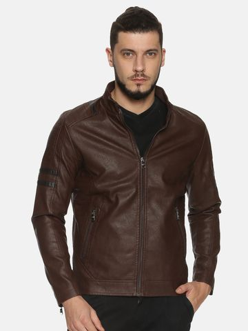 Showoff | Men Coffee Casual Solid Leather jacket